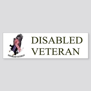 Disabled Veteran Eagle And Ribbon Sticker (Bumper)