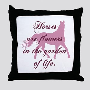 Horse Flowers Throw Pillow