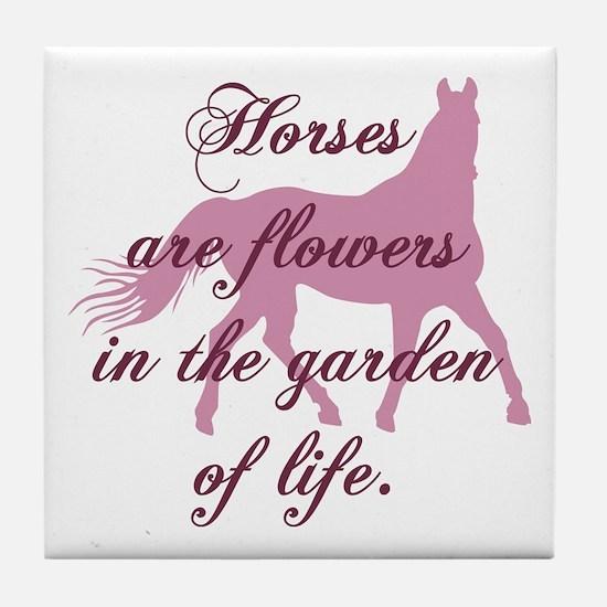 Horse Flowers Tile Coaster