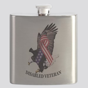 Disabled Veteran Eagle and Ribbon Flask