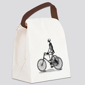 Skeleton on Bicycle Canvas Lunch Bag