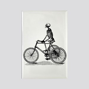 Skeleton on Bicycle Rectangle Magnet