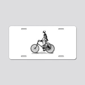Skeleton on Bicycle Aluminum License Plate