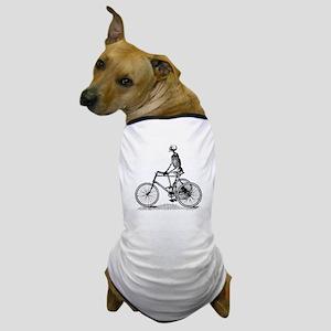 Skeleton on Bicycle Dog T-Shirt
