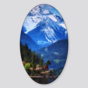 house by the lake Sticker (Oval)