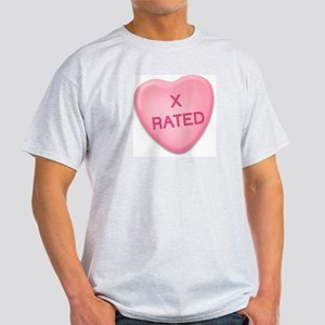 X Rated Candy Heart Ash Grey T-Shirt