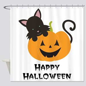 Happy Halloween Cat Shower Curtain