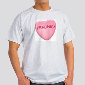 peaches Candy Heart Ash Grey T-Shirt