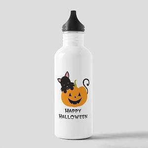 Happy Halloween Cat Water Bottle