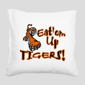 Eat'em Up Tigers Square Canvas Pillow