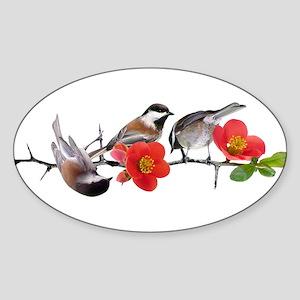 Quince Birds Sticker (Oval)