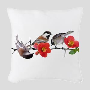 Quince Birds Woven Throw Pillow