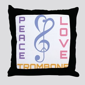 Peace Love Trombone Music Throw Pillow