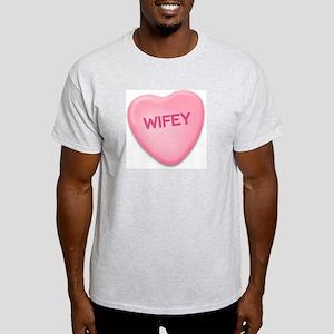 Wifey Candy Heart Ash Grey T-Shirt