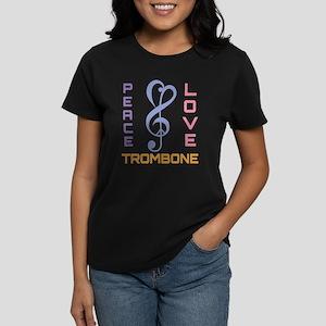 Peace Love Trombone Music Women's Dark T-Shirt