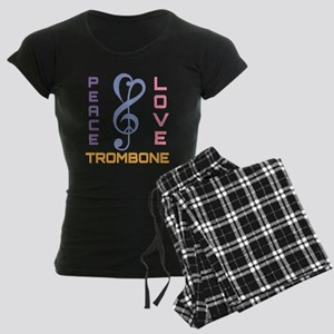Peace Love Trombone Music Women's Dark Pajamas