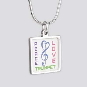 Peace Love Trumpet Music Silver Square Necklace