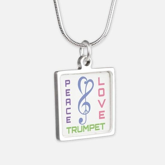Peace Love Trumpet Music Silver Square Necklace
