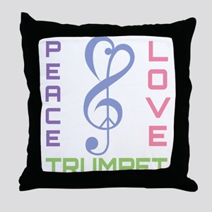 Peace Love Trumpet Music Throw Pillow