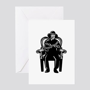 Man Gagged Chained to Grand Arm Chair Woodcut Gree