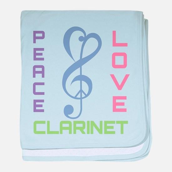 Peace Love Clarinet Music baby blanket