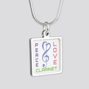 Peace Love Clarinet Music Silver Square Necklace