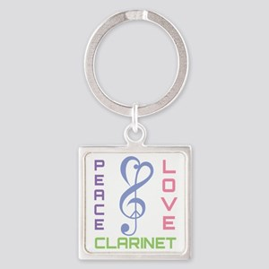 Peace Love Clarinet Music Square Keychain