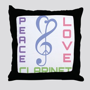 Peace Love Clarinet Music Throw Pillow