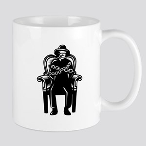 Man Gagged Chained to Grand Arm Chair Woodcut Mugs