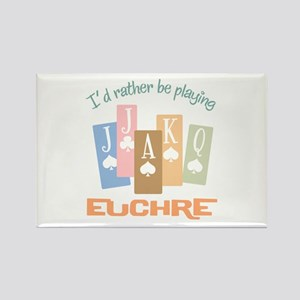 Retro Rather Play Euchre Rectangle Magnet