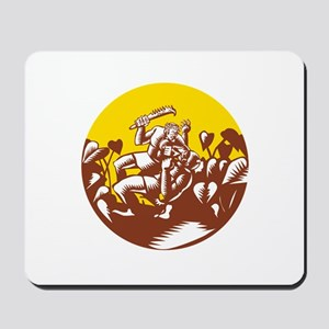 Losi Defeating God Circle Woodcut Mousepad