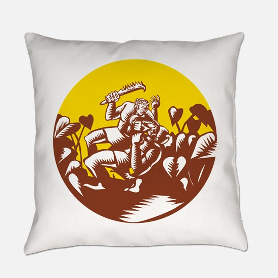 Losi Defeating God Circle Woodcut Everyday Pillow