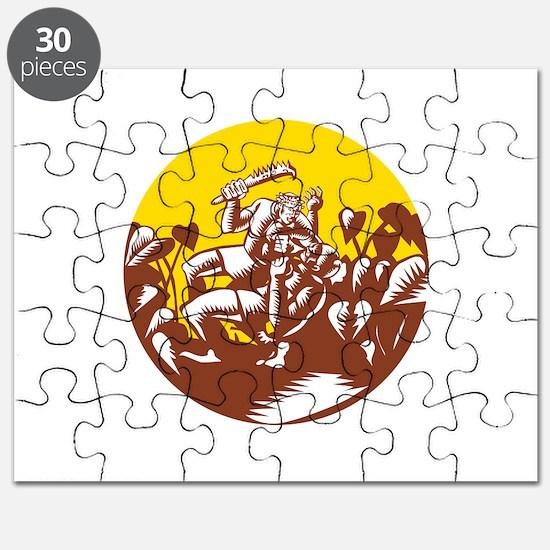 Losi Defeating God Circle Woodcut Puzzle