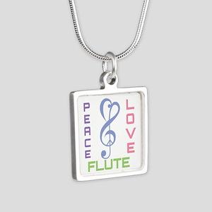 Peace Love Flute Music Silver Square Necklace