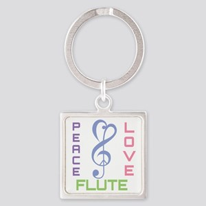 Peace Love Flute Music Square Keychain