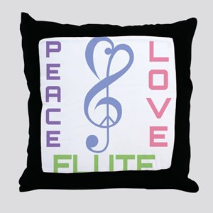Peace Love Flute Music Throw Pillow