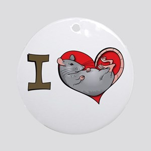 I heart rats (grey) Ornament (Round)
