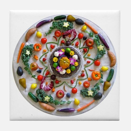 Veg and Fruit Mandala Tile Coaster