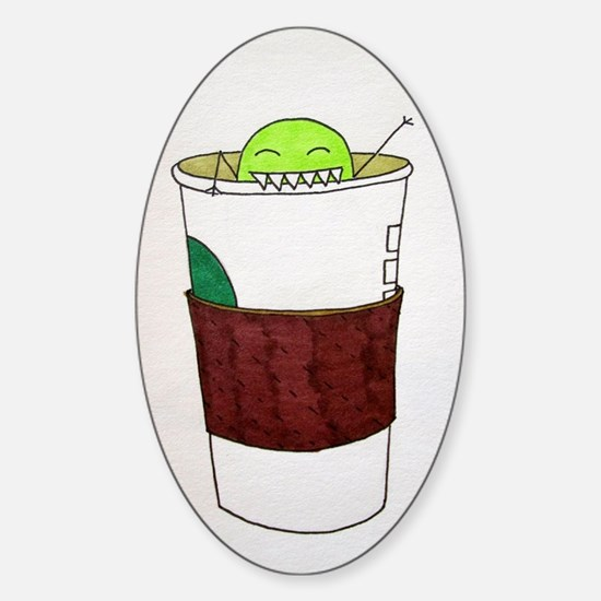 Pea Monster's Coffee Cup Sticker (Oval)