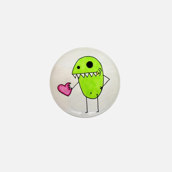 Pea Monster Eating Sweet Hearts Mini Button