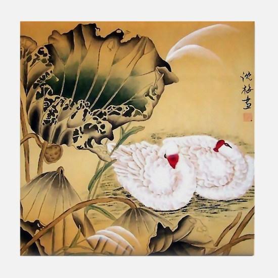 Oriental Swan Motif Tile Coaster