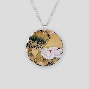 Oriental Swan Motif Necklace Circle Charm