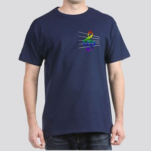 Treble Clef and Staff Rainbow Dark T-Shirt