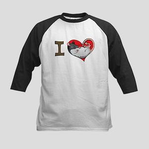 I heart rats (hooded) Kids Baseball Jersey