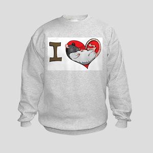 I heart rats (hooded) Kids Sweatshirt