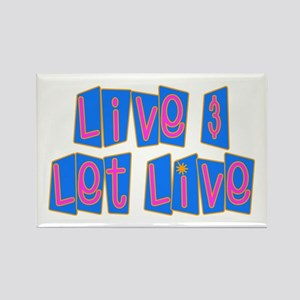 Retro Live and Let Live Rectangle Magnet