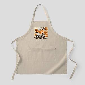 Retro Flowers Duvet Cover Brown Orange Apron