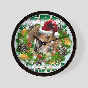 MerryChristmas Beagle Wall Clock