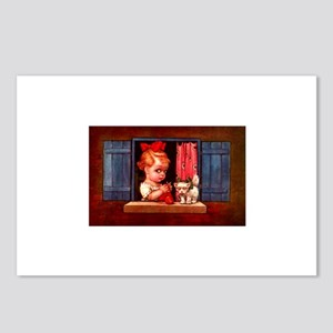 Cute Little Girl Knitting Postcards (Package of 8)