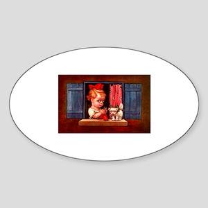 Cute Little Girl Knitting Oval Sticker